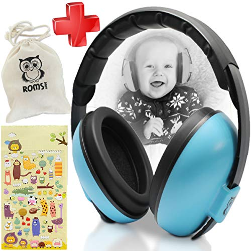 Noise Cancelling Baby Ear Protection Baby Earmuffs ~ Protect Infants and Kids Hearing with Safe, Sound Proof Baby Ear Muffs ~ Comfort Fit + Bonus Travel Bag and Stickers by ROMS Baby (Blue)
