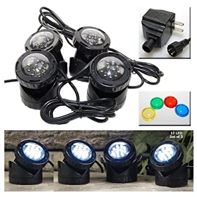 Jebao 4-LED Super Bright Outdoor Underwater Pond Fountain Spot Light Kits 4-color Lens