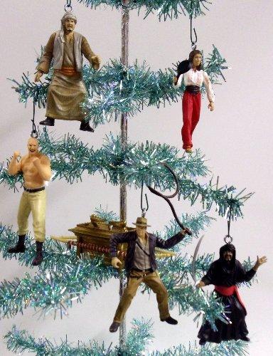 Set of 6 Indiana Jones Christmas Tree Ornaments Featuring Indiana