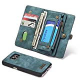 RAYTOP® [Magnetic Removable Phone Case] + [10 Card Holders] + [4 Large Pockets] Synthetic Leather Wallet for Samsung Galaxy S7 [Magnet + Zipper + Button Closure] Soft Textured Material Large Capacity
