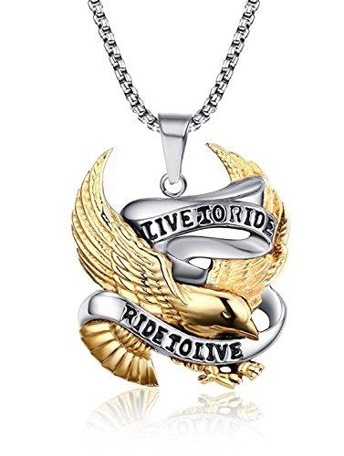 - Blowin Stainless Steel Punk Hawk Eagle Pendant Motorcycle Biker Necklace for Men, 24