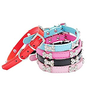 Haoricu Pet Collar, Small Dog Collars Bling Crystal With Bone Necklace Puppy Cat (M, Hot Pink)