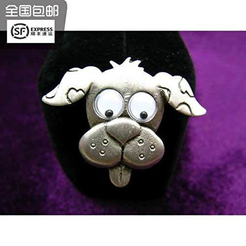 (TKHNE Turn box cat eyes rolling Mong-produced silver antique brooch pin badge 361 people)