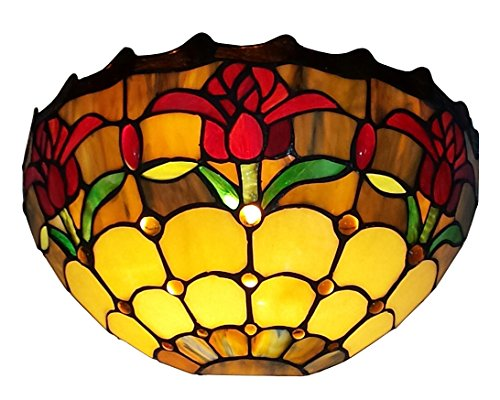 Tulip Lamp Pattern (Amora Lighting Tiffany Style AM1056WL12 Tulips Wall Sconce Lamp 12 In Wide)