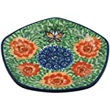 Polish Pottery Saucer 6-inch Butterfly Peach Poppies UNIKAT