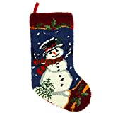 """Image of Glitzhome Hooked Snowman Christmas Stocking 19"""", 1 Piece(Red, Blue, White)"""