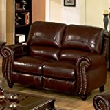 Abbyson Living Cambridge Leather Pushback Loveseat in Dark Burgundy For Sale