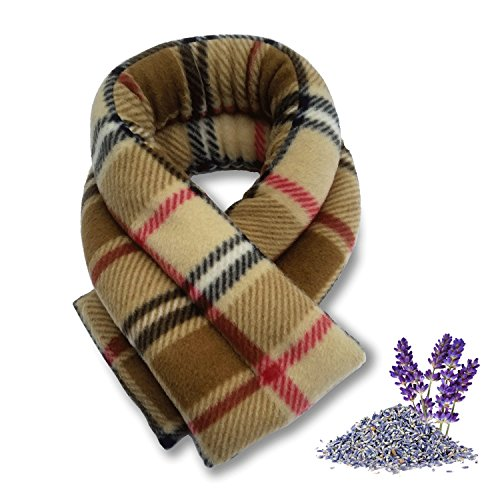 Sunny Bay heated neck wrap, Lavender scented, extra long, neck pain relief, moist heat, microwavable, london plaid camel