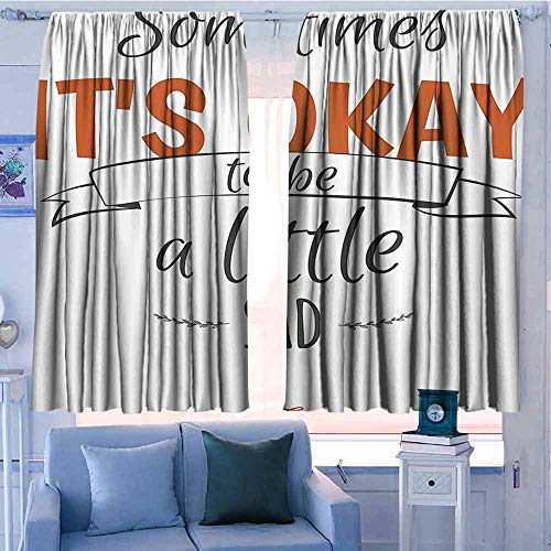 AndyTours Curtains for livingroom/Bedroom,Quote Decor,for Bedroom,Nursery,Living Room,W55x45L Inches Black White and Cinnamon