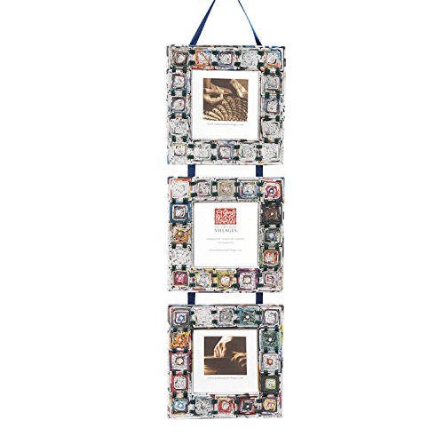 - Ten Thousand Villages Three Mirrors Framed in Repurposed Newspaper Coils 'Newspaper Square Triple Frame'