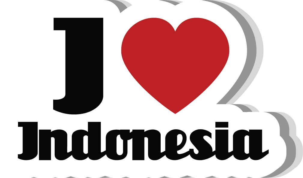 I Love Indonesia Slogan Home Decal Vinyl Sticker 14'' X 8'' by innagrom (Image #1)