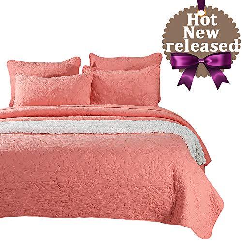 Brandream Luxury Coral Orange Bedding Set 3 Piece Vintage Oversized Bedspread Quilt Set Queen Size
