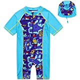 Kid Boy Short Sleeve Swimsuit Sun Protective One Piece Swimming Bathing Suit Swimwear Sunsuit