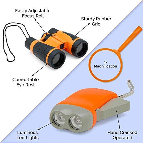 Exploration Kit for Kids – Outdoor Gear Gift Set for STEM Learning & Nature Exploring for Children – Compass, Binoculars,Magnifying Glass, Flashlight Backpack Pack for Toddler Boys & Girls by Trendsettings (Image #1)