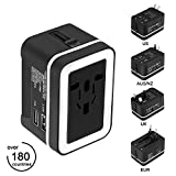 Travel Adapter, Upgraded Premium Universal All in One Worldwide Travel Plug Adapter AC Power Plug Converter Fast Wall Charger with 2 USB Charging Ports for USA EU UK AUS (Black & White)