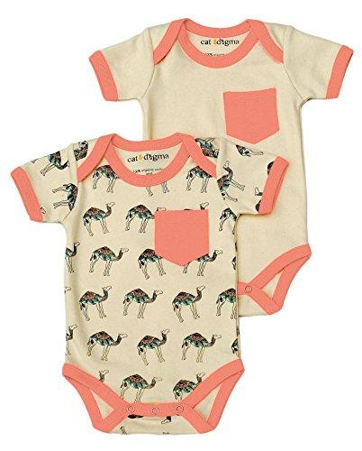 (Cat & Dogma Organic Unisex Short Sleeve Bodysuit - Camel (18-24 Months))