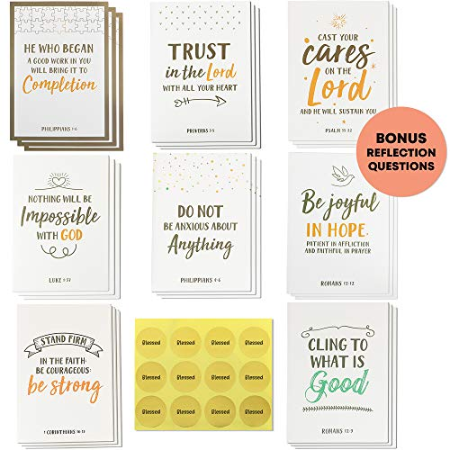 Dessie 56 Pack Inspirational Bible Verse Cards with Envelopes | 8 Unique Scripture Card Designs | Boxed Greeting Card Set with Blessed Stickers And Bonus Self-Reflection - Cards Greeting Bible