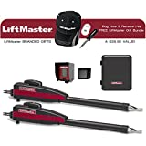 Liftmaster LA400PKGU Dual Swing Gate Opener Kit, Battery Backup, Receiver & Photocell Included! & Receive A Free Liftmaster Gift Bundle (Baseball Cap, Dual USB Charger & 4 in 1 Screwdriver)