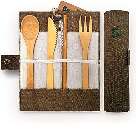 Bambaw Cubiertos de bambú | Cubiertos madera ecológicos |Utensilios madera | Set para picnic | Set cubiertos para camping | Cucharada, tenedor, cuchillo, ...