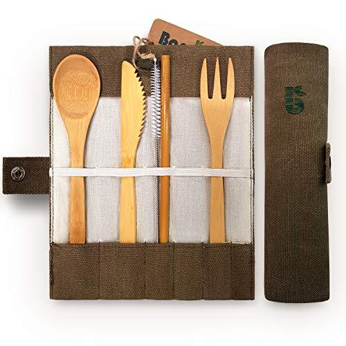 Bamboo Cutlery Set | Travel Cutlery Set | Flatware Set | Bamboo Travel Utensils