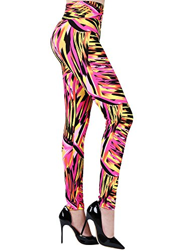 SATINIOR Soft Printed Leggings 80s Style Neon Leggings Pants with Assorted Designs for Women and Girls (One Size, Color 1)