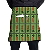 Kjiurhfyheuij Half Short Aprons Carrot Mirror Waist Apron with Pockets Kitchen Restaurant for Women Men Server
