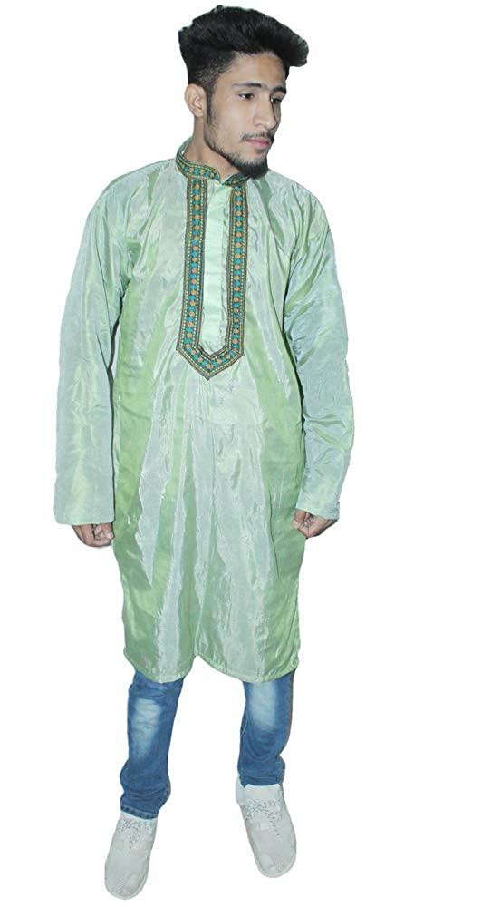 Lakkar Haveli Indian Kurta Embroidered Artificial Silk Solid Light Green Color Plus Size