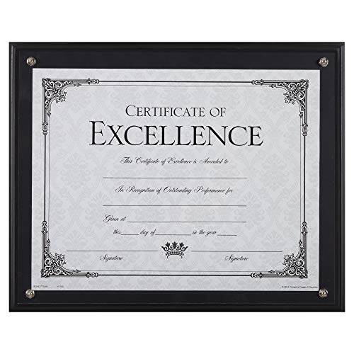 Dax 8.5 x 11 Black Certificate Award Plaque Board Slide In with Plexi Glass
