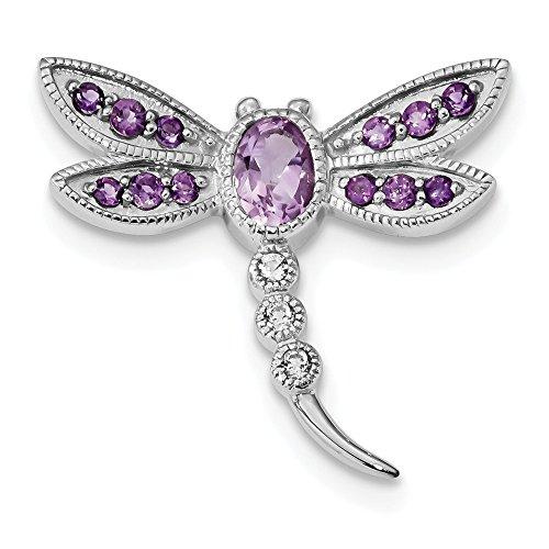 FB Jewels Solid 925 Sterling Silver Rhodium Pk. Quartz Am Wht Topaz DragoNFLy Pin Chain Slide