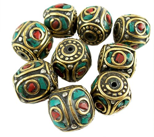 Tibetan Beads mm x mm Turquoise and Red Coral Stones Loose Beads for Jewelry Making DIY 2 Pieces per Package (Turquoise Beads Wholesale)