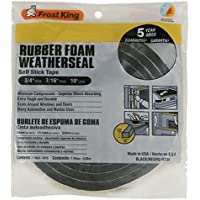 Frost King R734H Sponge Rubber Foam Tape 3/4 W X 7/16 H X 10 L, Black by Frost King