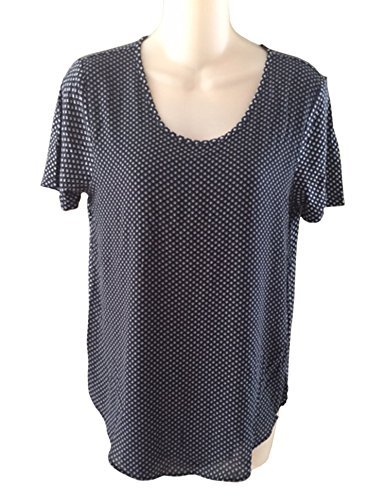 ann-taylor-womens-navy-white-polka-dot-blouse-top-xs-s-m-l-xl-small