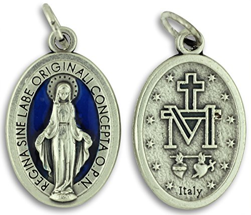 Bulk Buy 5 Pcs - Miraculous Medal 1 Inch Lot of 5 Medals Blue Enamel Rings Included