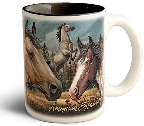Wildlife Collage Series 15oz Stoneware Coffee Mug (American Mustang) (Series Collage)