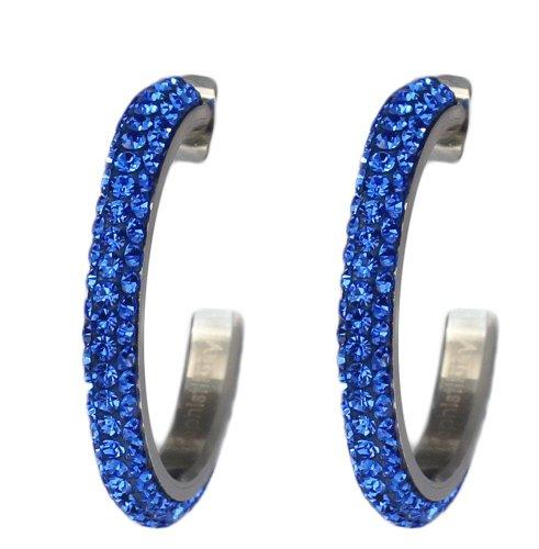 1 inch Hoop Earrings for women with Beautiful Sparkly Rhinestone Crystals - Cobalt (Cobalt Blue Earrings)