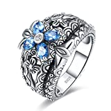 Merthus Antique Style Womens 925 Sterling Silver Created Blue Topaz Floral Band Ring