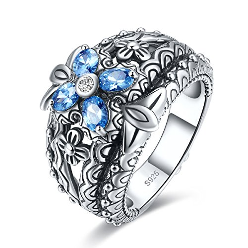 Merthus Antique Style Womens 925 Sterling Silver Created Blue Topaz Floral Band Ring by Merthus