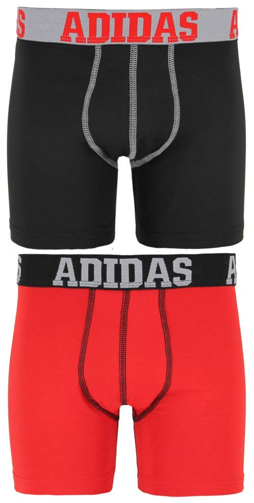 adidas Kids Boy's Sport Performance Climalite 2-Pack Boxer Brief (Big Kids) Black/Solid Red/Solid Red/Black LG (14-16 Big Kids) by adidas