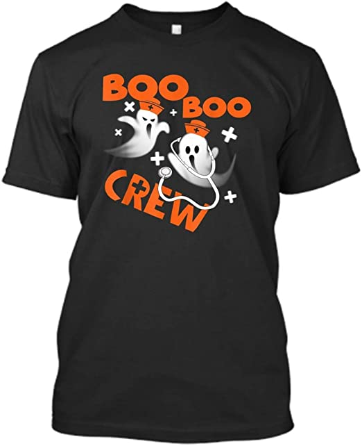 Amazon.com: Funny Halloween Pumpkin Gifts Boo Boo Crew Ghost Nurse Gift Mens Womens T-Shirt Size S Black: Clothing