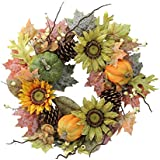 """Admired By Nature GFW6002-NATURAL Artificial Sunflowers/Pumpkins/Pinecone/Maple Leaves/Berries Fall Festive Harvest Display Wreath, 24"""", Green/Autumn"""