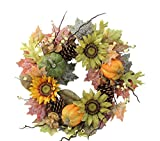 "Admired By Nature GFW6002-NATURAL Artificial Sunflowers/Pumpkins/Pinecone/Maple Leaves/Berries Fall Festive Harvest Display Wreath, 24"", Green/Autumn"