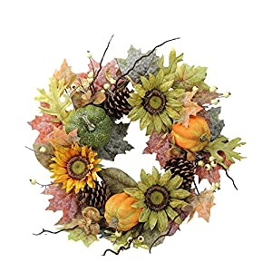 """Admired By Nature GFW6002-NATURAL Artificial Sunflowers/Pumpkins/Pinecone/Maple Leaves/Berries Fall Festive Harvest Display Wreath, 24"""", Green/Autumn 54"""