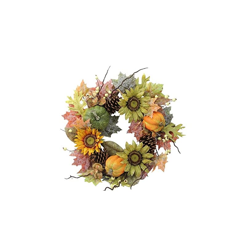 silk flower arrangements admired by nature gfw6002-natural fall wreath, 24-inches, orange