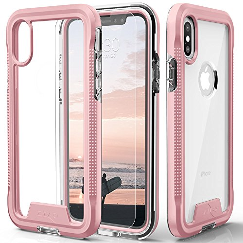 (Zizo ION Series Compatible with iPhone Xs Max case Military Grade Drop Tested with Tempered Glass Screen Protector (Rose Gold & Clear))