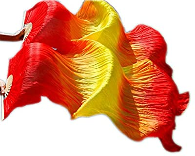 Nimiman 1 Pair 180cmx90cm Light Belly Dance Silk Fan Veil Red Yellow Red