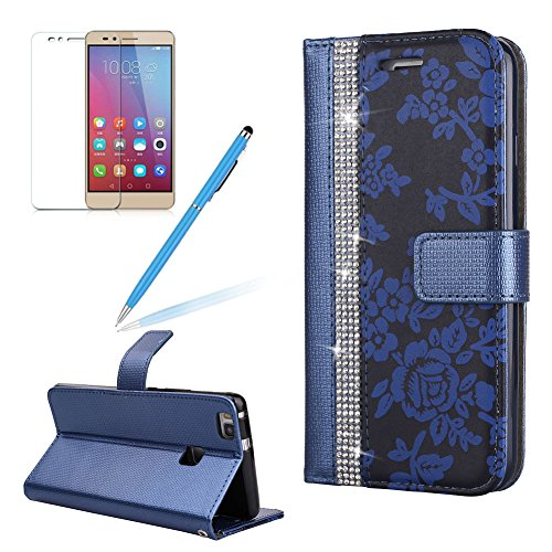Flip Wallet Case For Huawei P9 Lite Girlyard Luxury Bling  Diamond Flower Pattern  Stitching Leather Stand Function Flip Kickstand Magnetic Book Wallet Holder Protective Cover For Huawei P9 Lite Blue