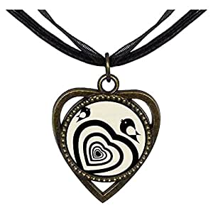 Chicforest Bronze Retro Style Sweet Heart And Cute Birds Heart Shaped Pendant