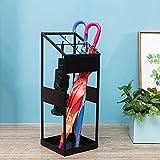 Umbrella Stands WSSF- Iron With 4 Hooks/Drip Tray Commercial Umbrella Bucket Household Hallway Hotel Lobby Long/Short Umbrella Rack Storage Holder,222260cm (Color : Black)