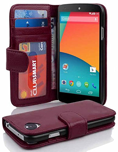 Cadorabo Book Case Works with LG Nexus 5 in Bordeaux Purple - with Magnetic Closure and 3 Card Slots - Wallet Etui Cover Pouch PU Leather Flip (Nexus 5 Phone Case Purple)