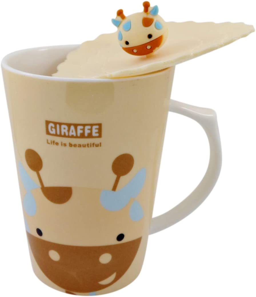 Ceramic Giraffe Coffee Cup Mug with Airtight Silicone Lid Cover for Hot and Cold Beverages, 14 Ounce